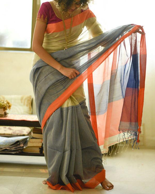 Neon orange border sari 1