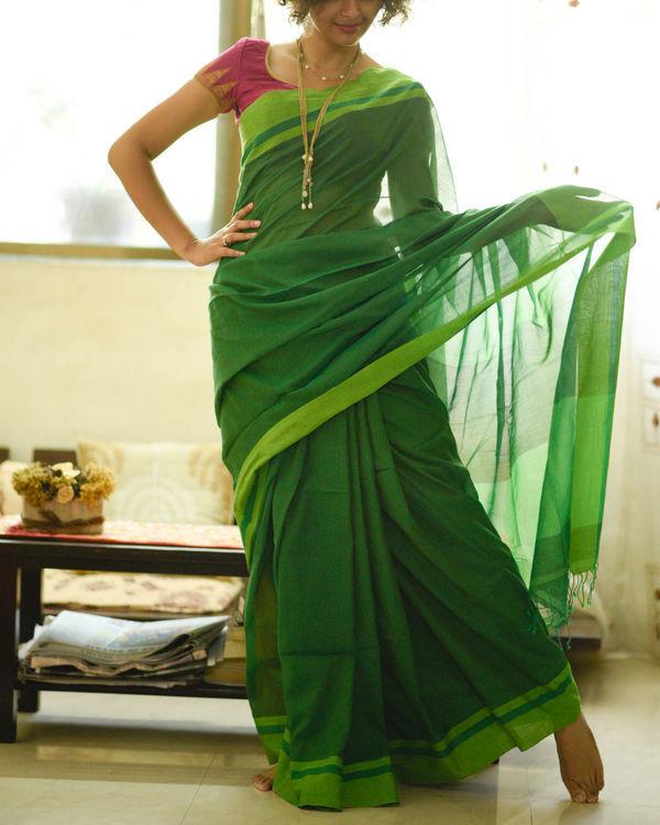 Shades of green sari 1