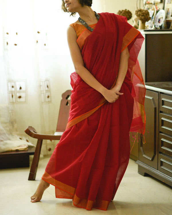 Gold and red sari 1