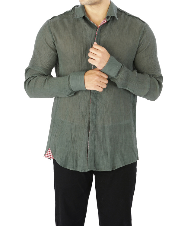 Olive green crushed voile shirt 1
