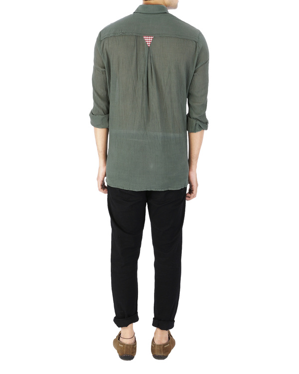 Olive green crushed voile shirt 2