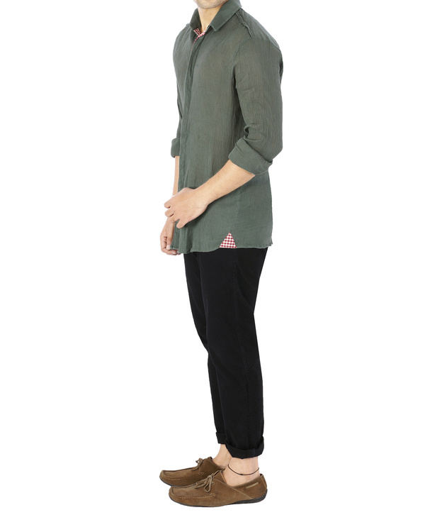 Olive green crushed voile shirt 3