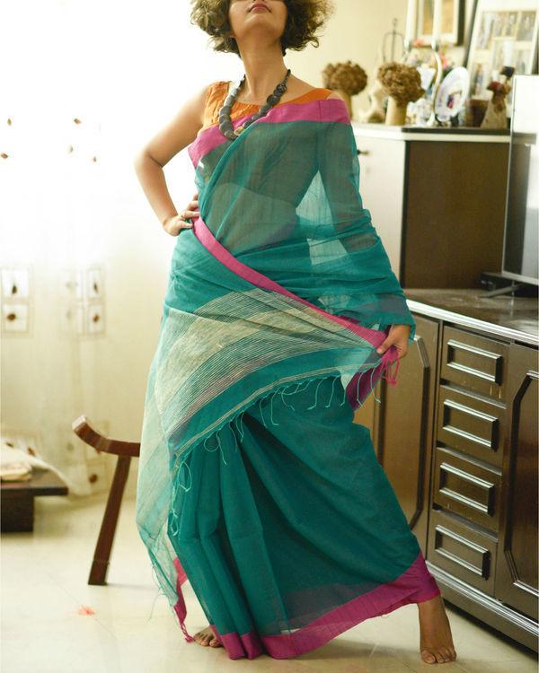 Teal and pink sari 1