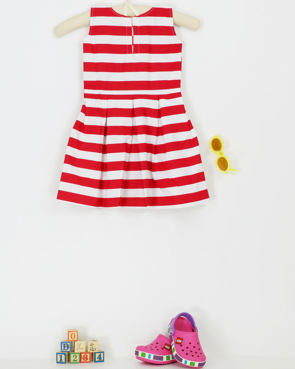Red and white stripe frock 1