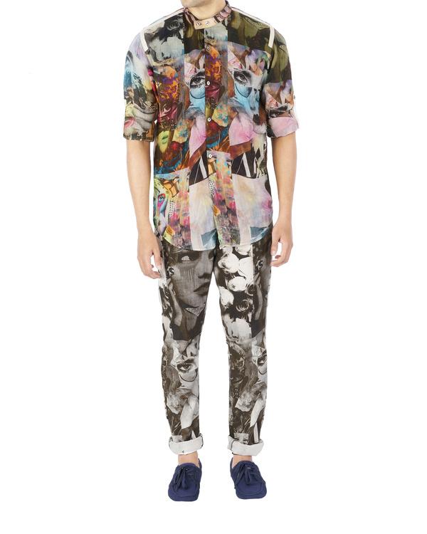 Collage print pants 1