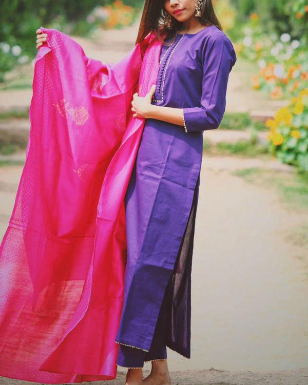 Purple buttoned color block set 1