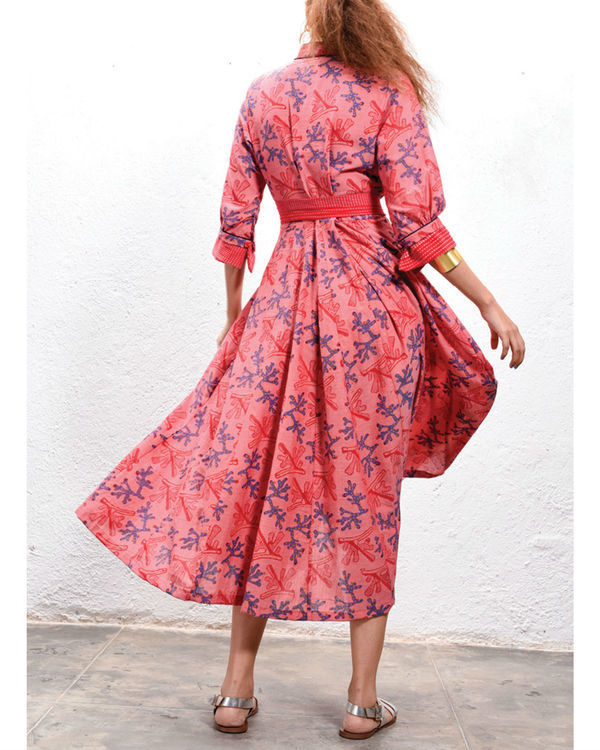 Coral peasant dress 2