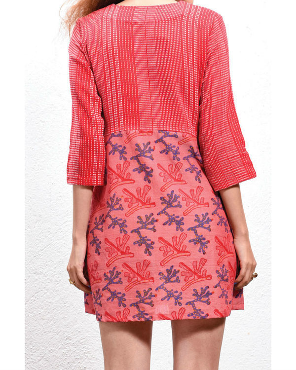 Coral front pocket dress 1