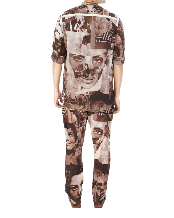 Sepia collage print voile shirt 2