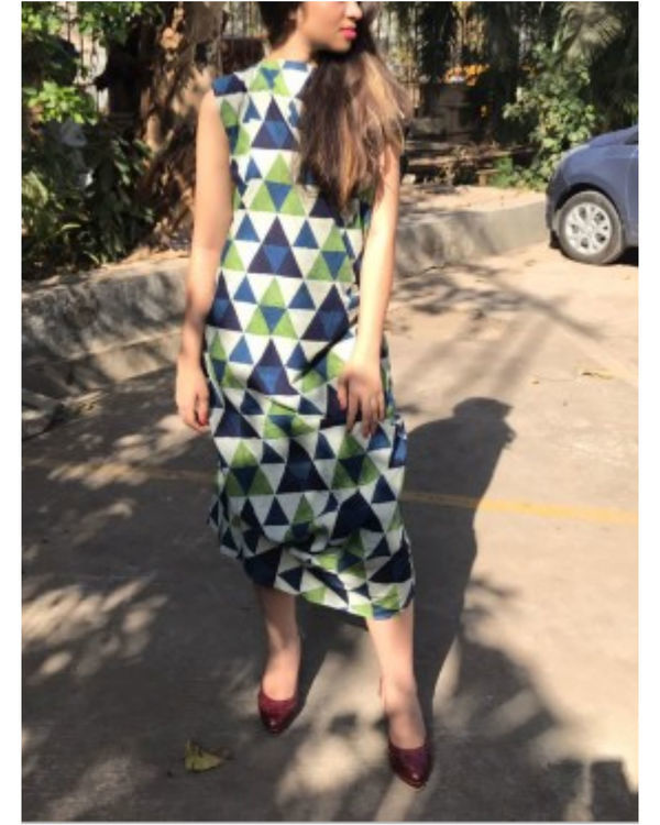 Green and blue mosaic dress 1