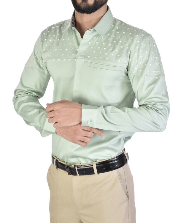 Mint blue cross sticth detail shirt 3