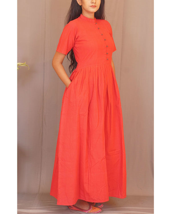 Red pleated maxi 1