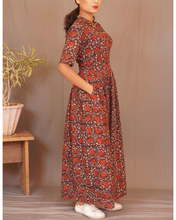 Rust floral gathered maxi 1