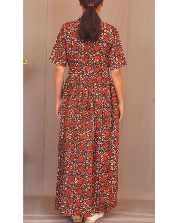 Rust floral gathered maxi 2