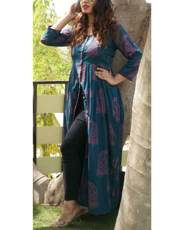 Deep teal printed cape 1