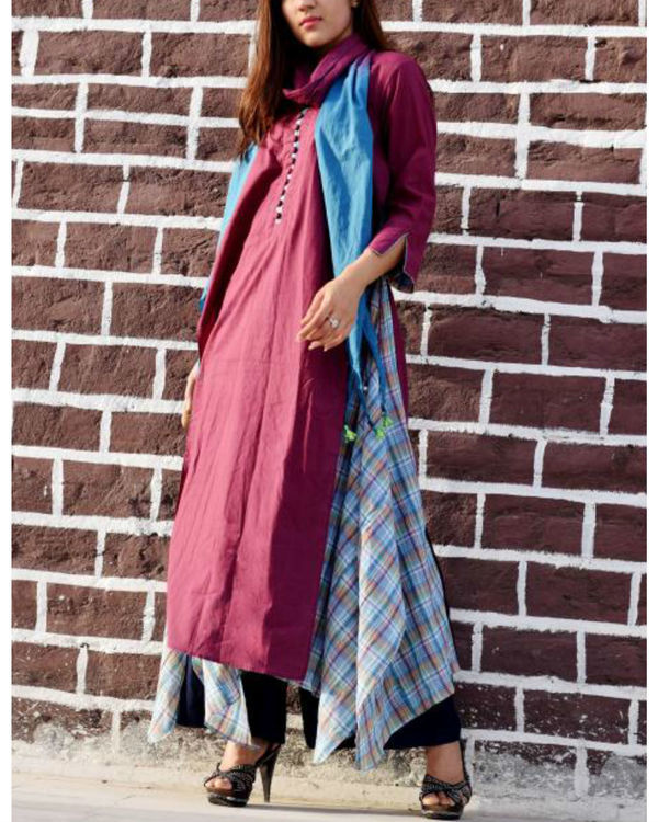 Plum layered tunic with stole 1