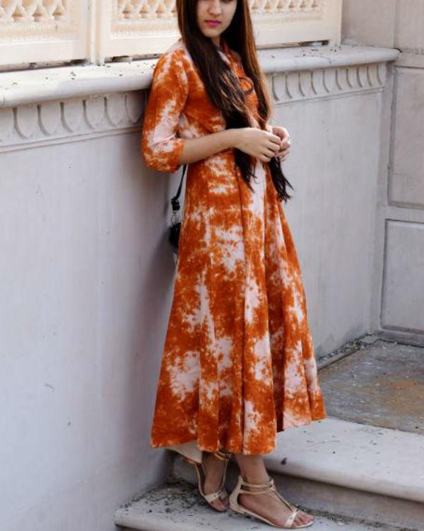 Burnt orange tie dye dress 1