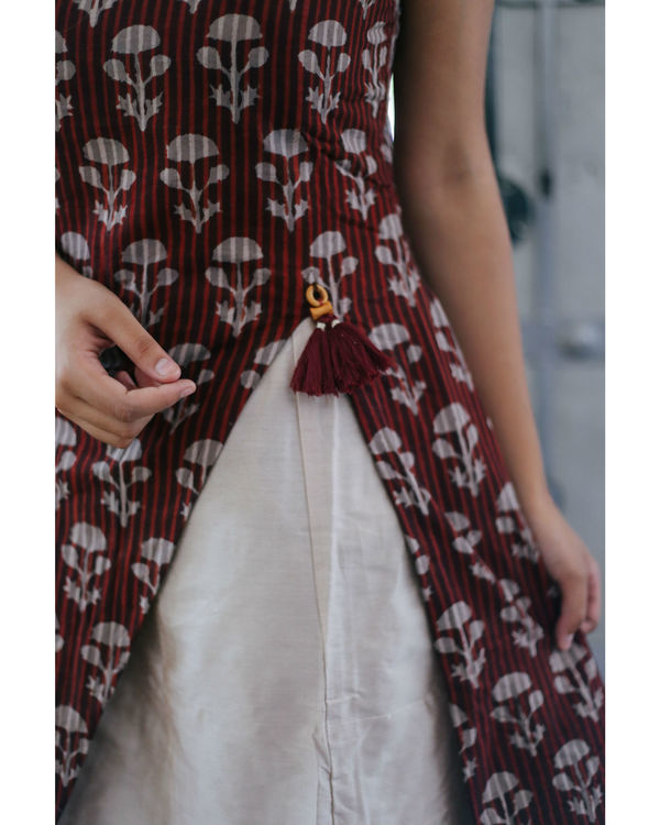 Wine floral layered dress 1