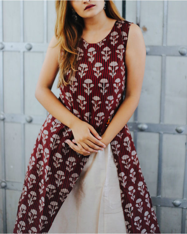 Wine floral layered dress 2