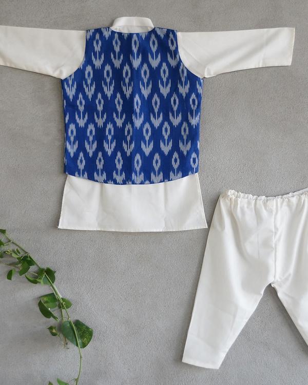 Blue ikat nehru jacket set 1