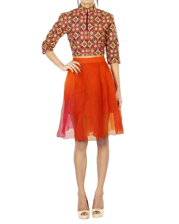 Multi color chanderi skirt 1