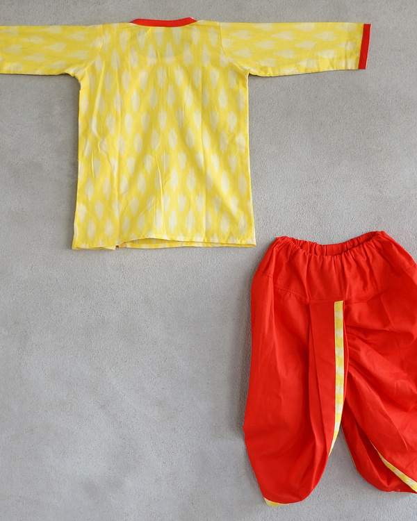Set of yellow kurta and dhoti pants 1