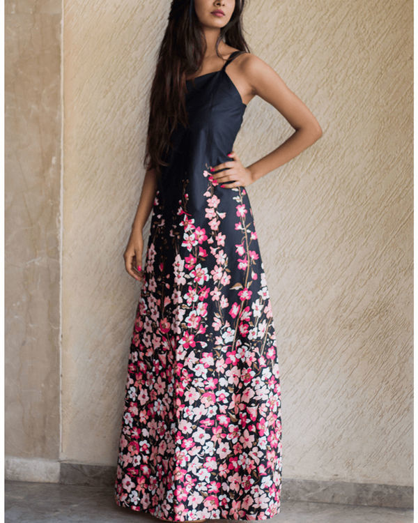 Slate floral gown 1