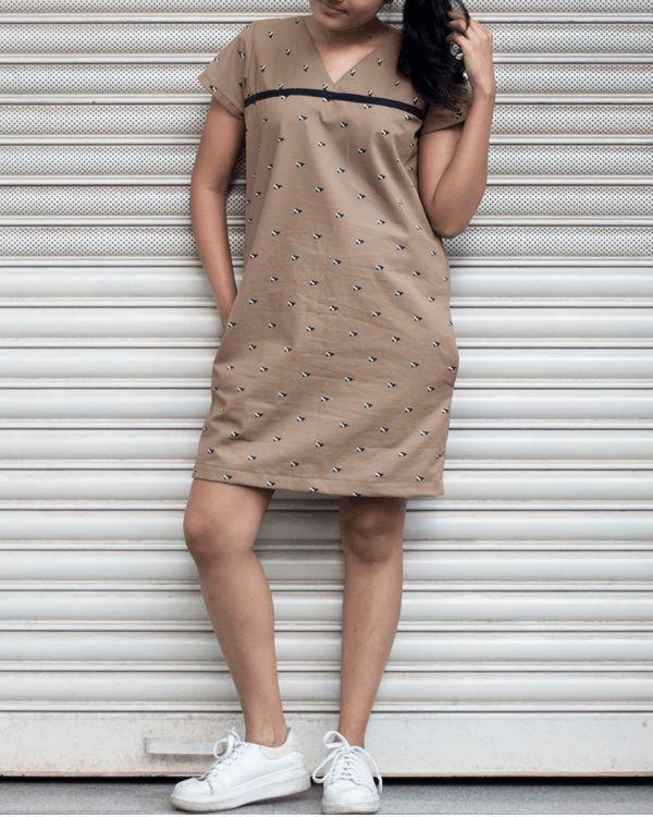 Khaki shift dress 2