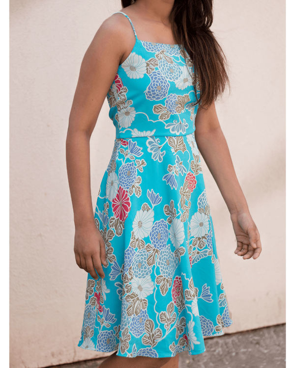 Aqua blue strap dress 1