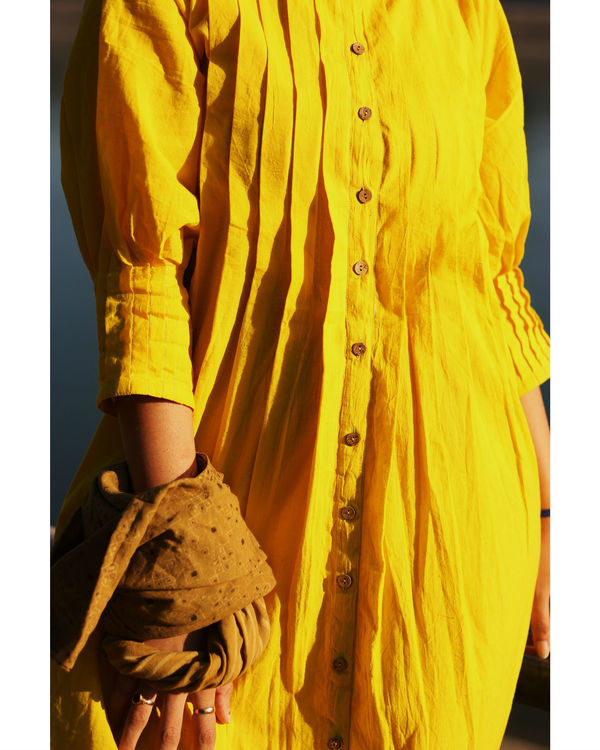 Yellow pintuck dress 1