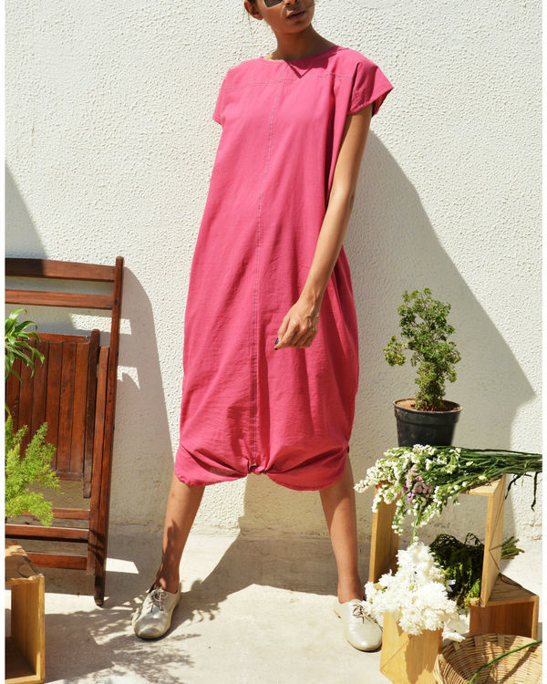 Peony pink drape dress 1