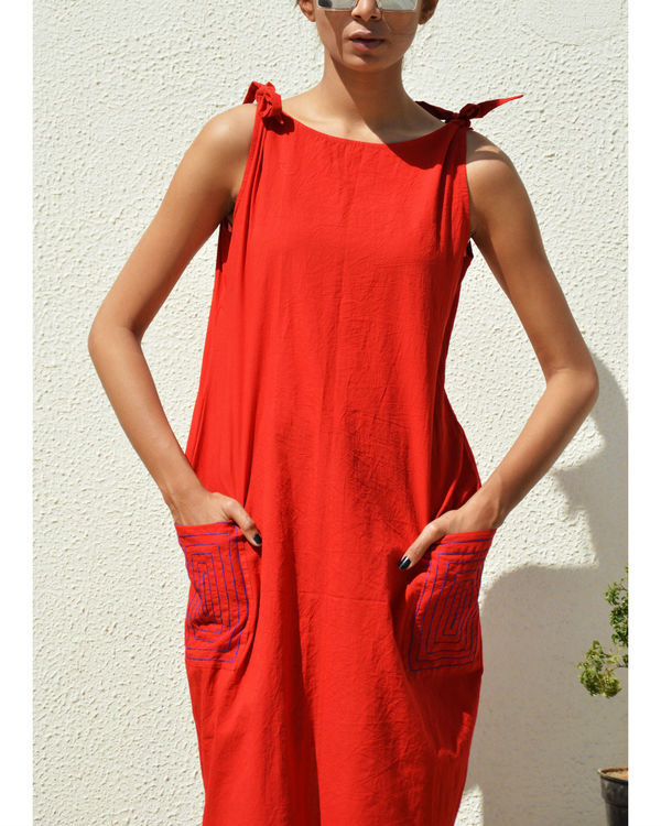 Bright red knot dress 1