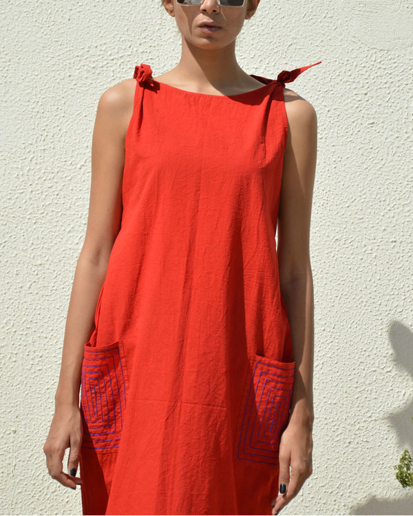 Bright red knot dress 2