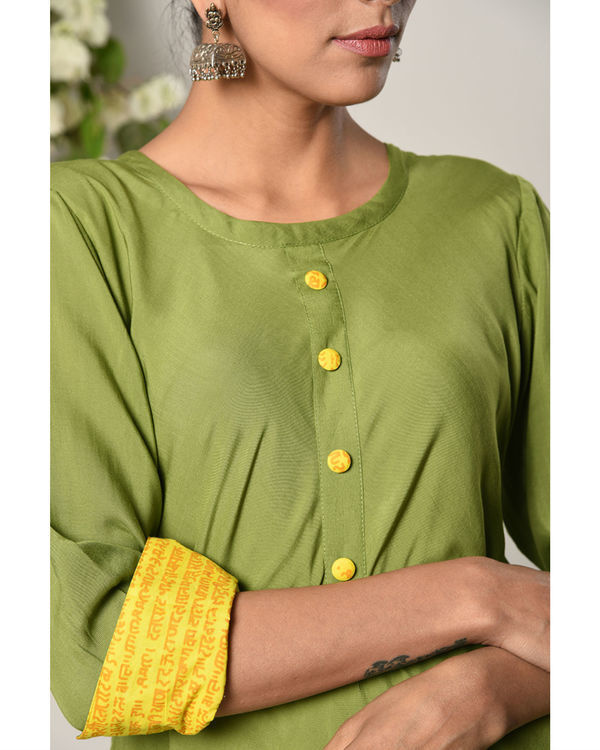 Green yellow cuff dress 1