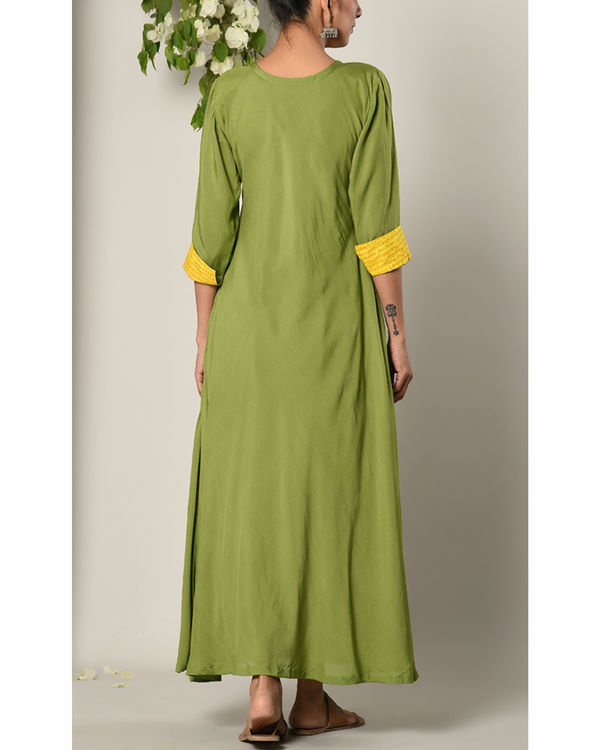 Green yellow cuff dress 3