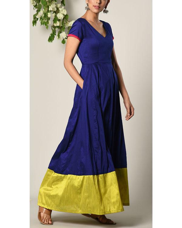 Blue panelled border dress 2