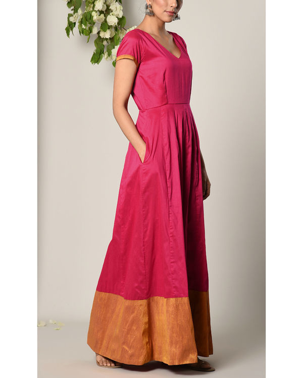 Pink panelled border dress 2