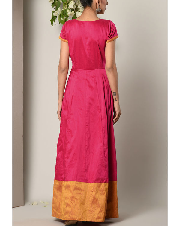 Pink panelled border dress 3