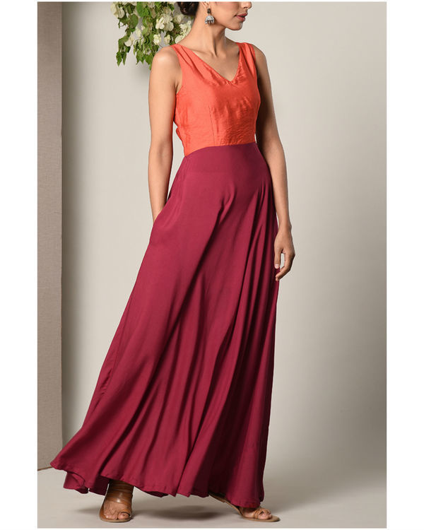 Orange and maroon colour block dress 2