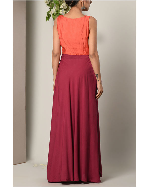 Orange and maroon colour block dress 3
