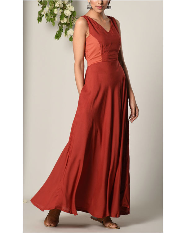 Rust red contrast yoke dress 2