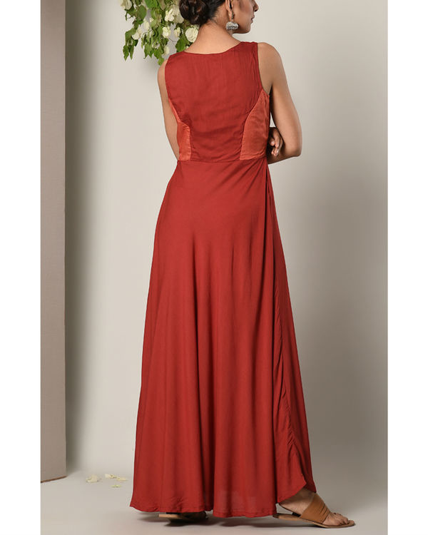 Rust red contrast yoke dress 3