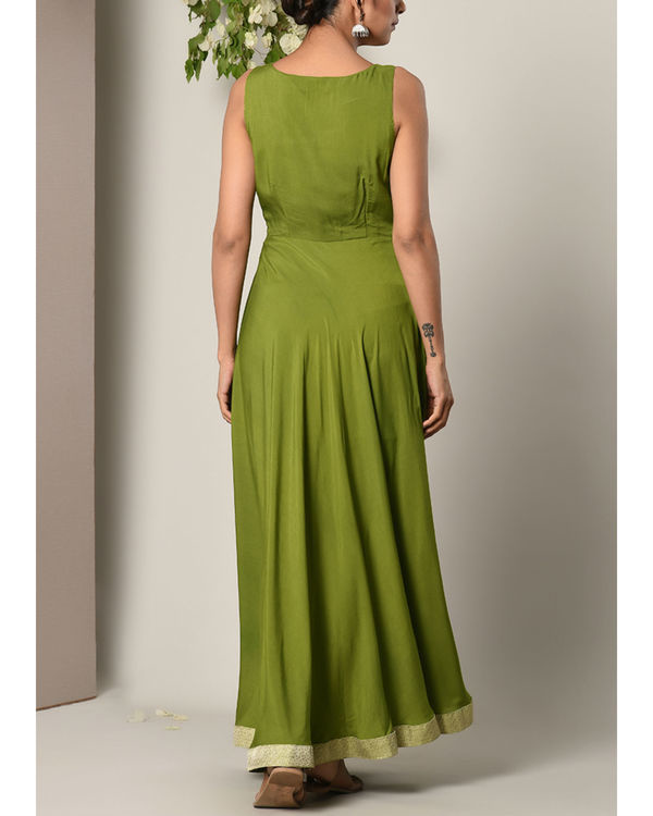 Moss green gathered dress 3