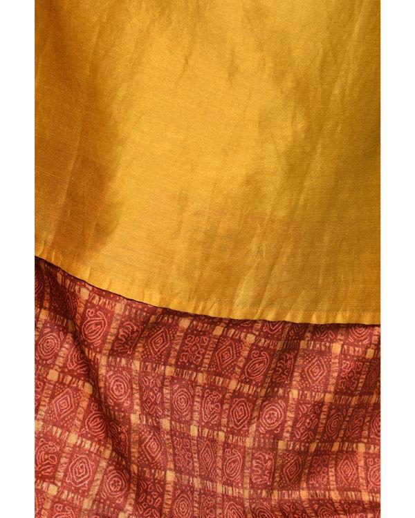 Mustard grid border dress 1