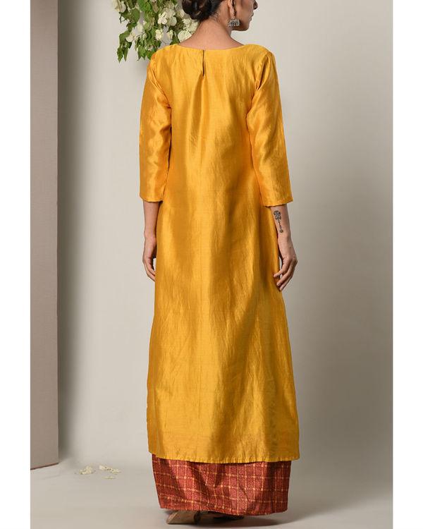 Mustard grid border dress 2