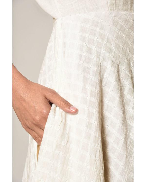 White grid flare dress 1