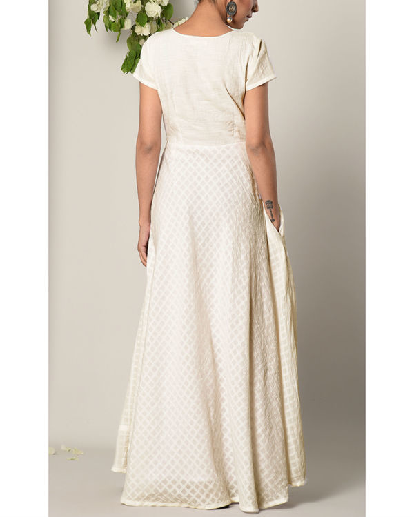 White grid flare dress 2