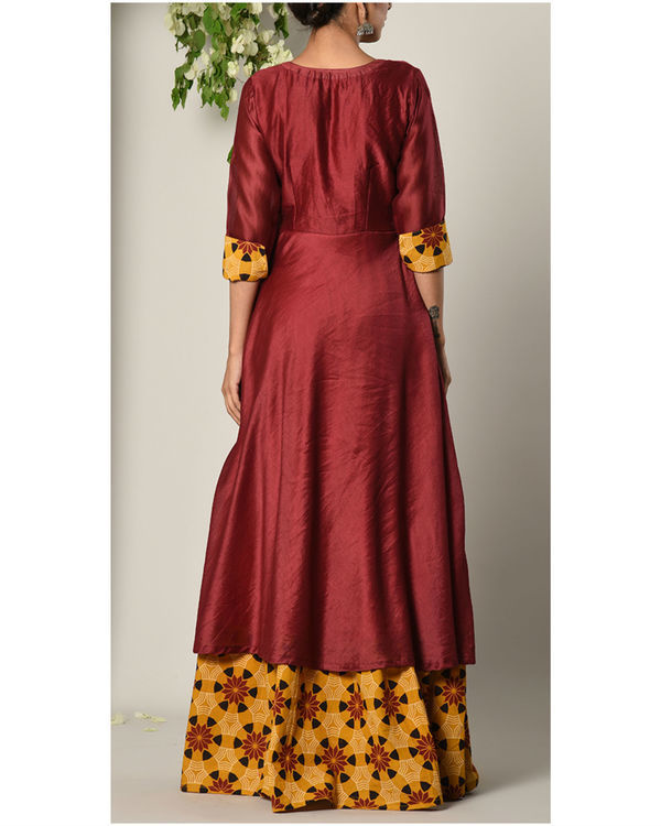 Wine faux layered dress 3