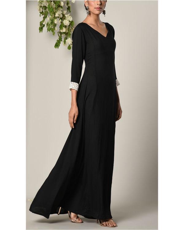 Black sleeve crochet dress 1