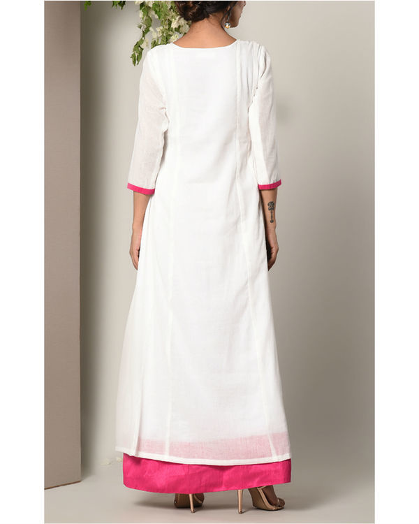 White and pink faux layered dress 3